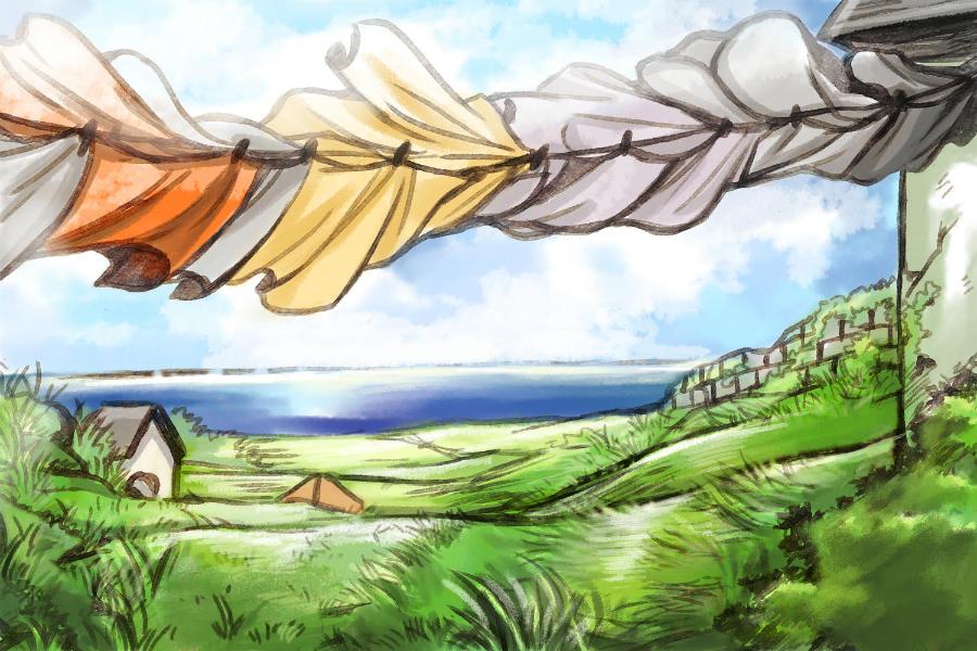 風に舞うリネン